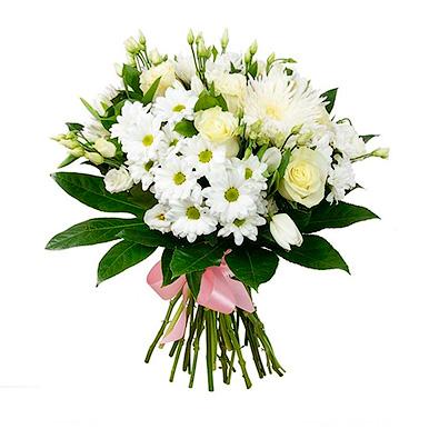 Букет из белых хризантем и роз