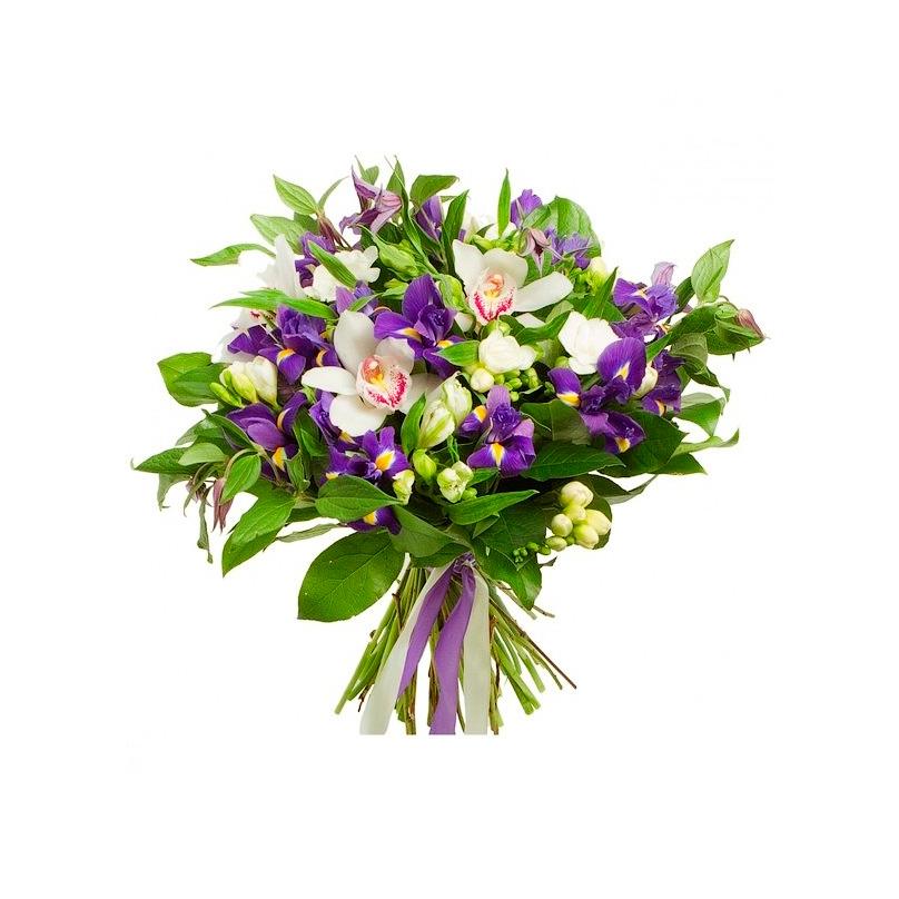 Фото Букет из орхидей и ирисов