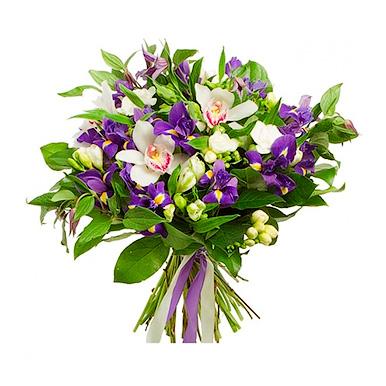 Букет из орхидей и ирисов