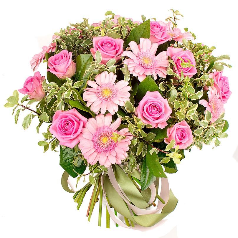 Фото Букет из розовых роз и гербер