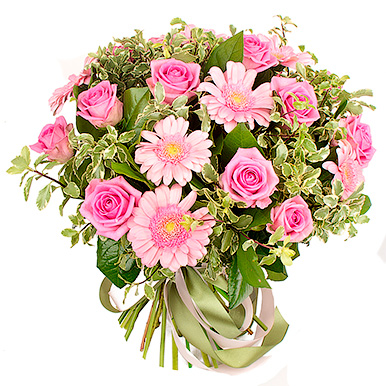 Букет из розовых роз и гербер