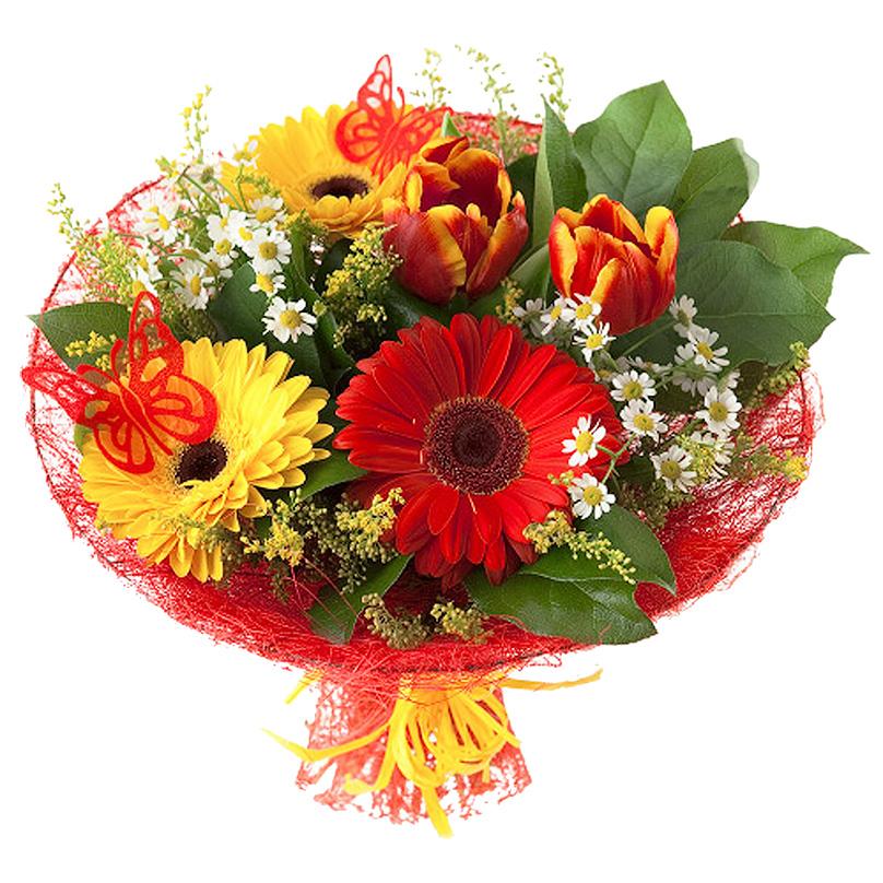 Фото Букет с герберами и тюльпанами