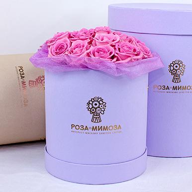 Мини-коробка с розовыми розами