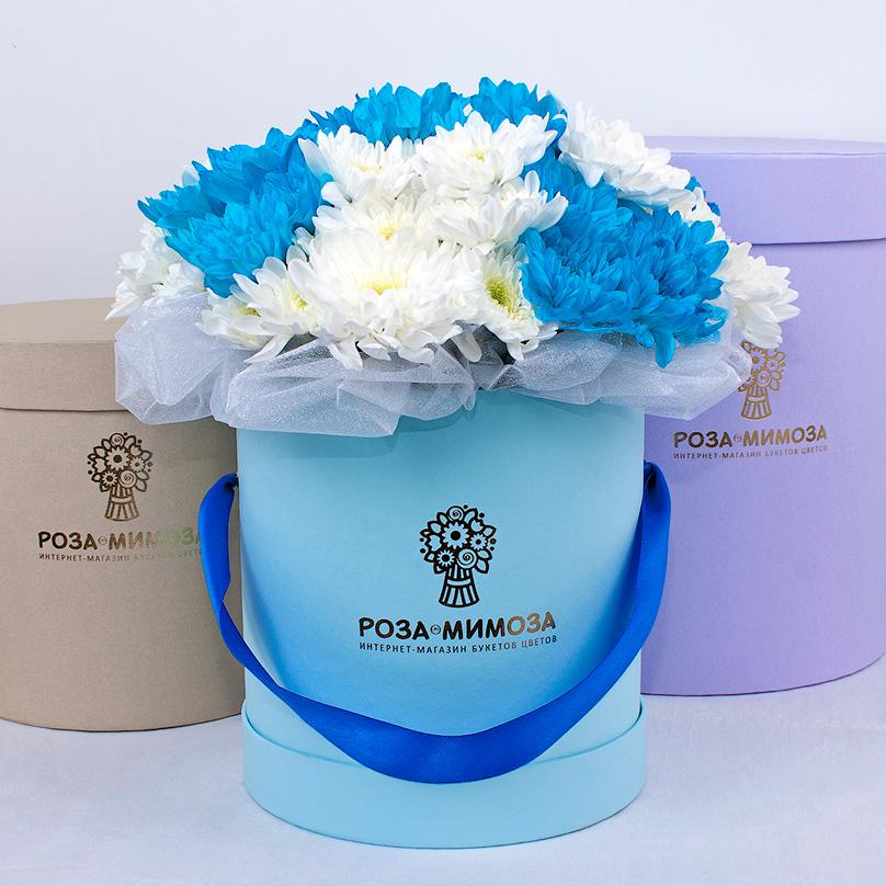 Фото Мини-коробка с белыми и синими хризантемами