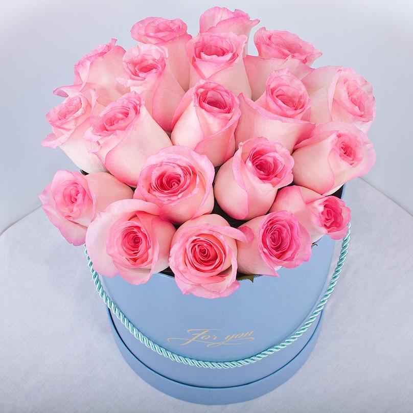 Фото Розовая Кенийская роза в круглой коробке