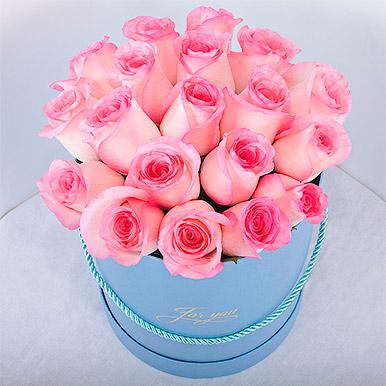 Розовая Кенийская роза в круглой коробке