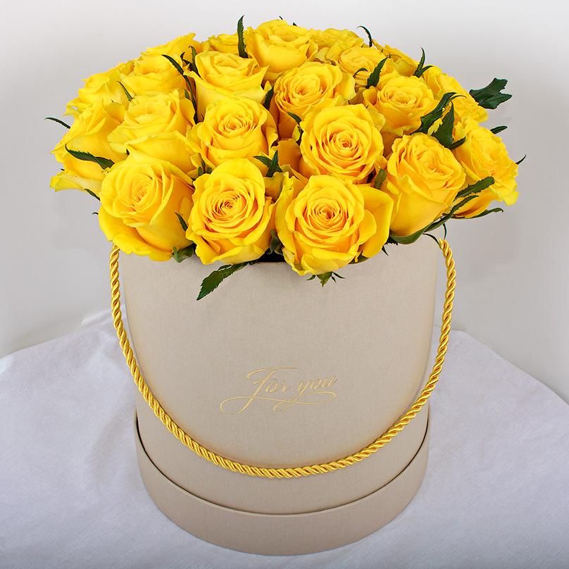 Фото Желтая роза Премиум из Кении в коробке