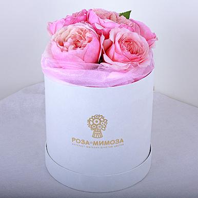 Мини-коробка с пионовидными розами