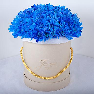 Мини-коробка с синими хризантемами
