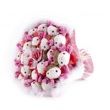 Букет из 21 зайца (мягкие игрушки)