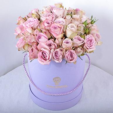 15 элитных кустовых роз в шляпной коробке