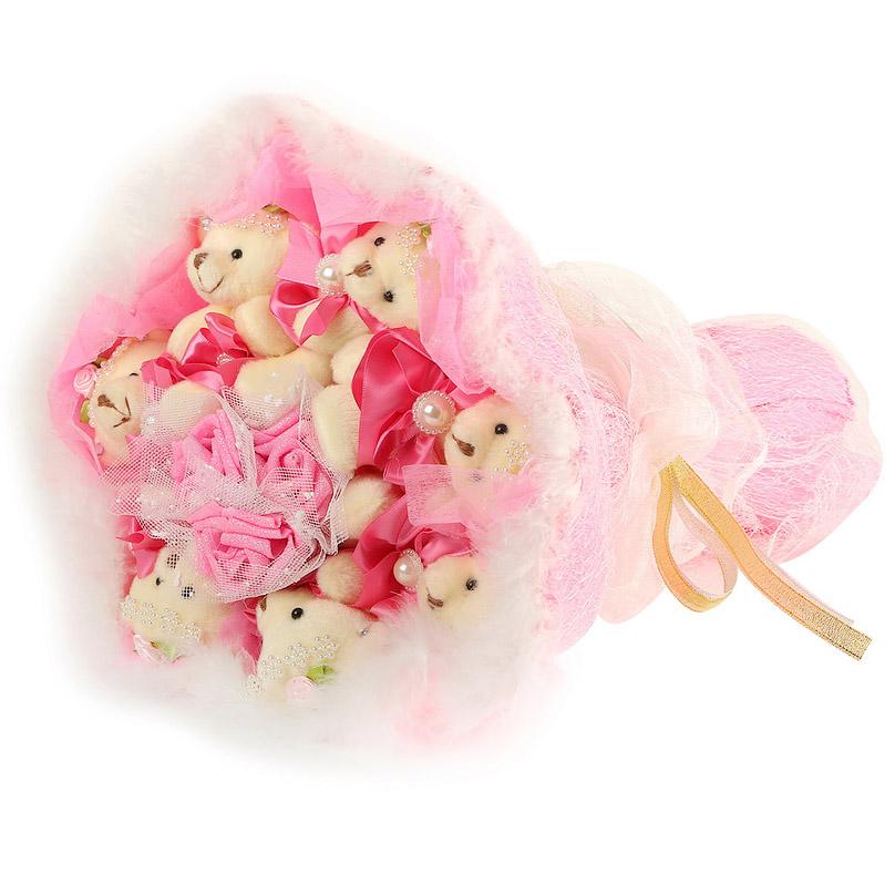 Фото Розовый букет из плюшевых игрушек