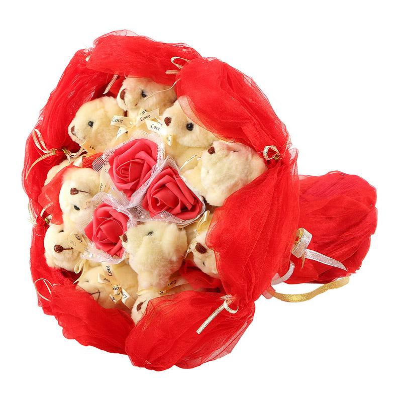 Фото Букет из кремовых мишек