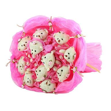 Нежный букет с мишками