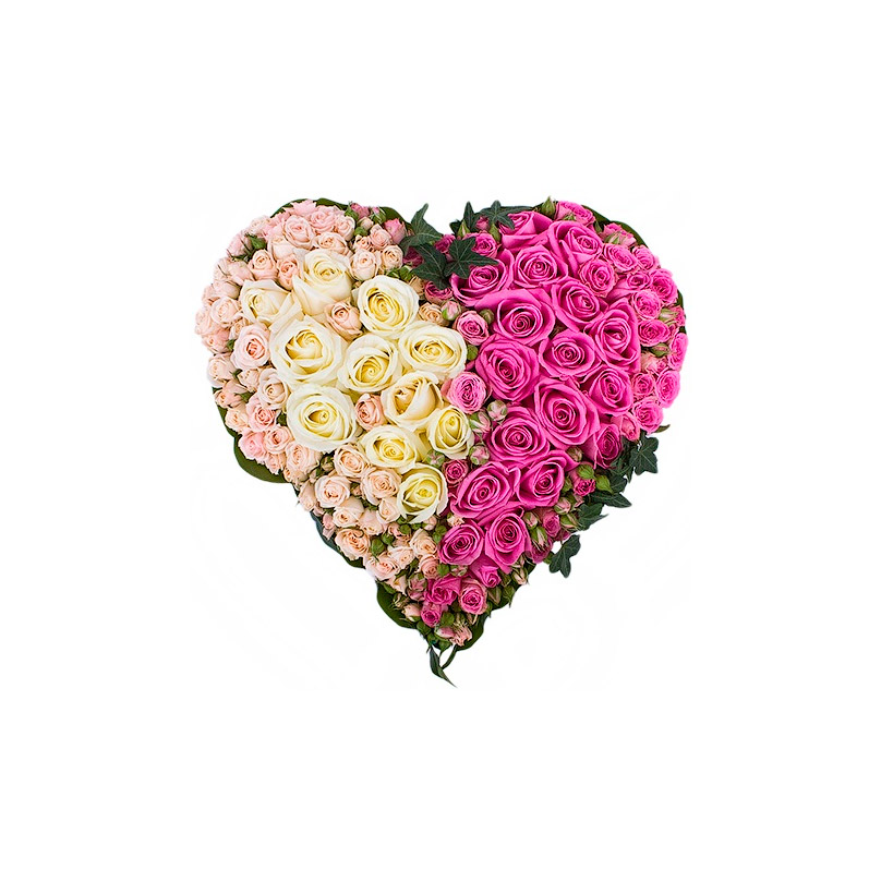 Фото Объемное сердце из роз премиум класса
