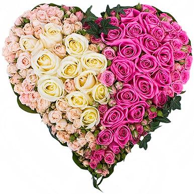 Объемное сердце из роз премиум класса