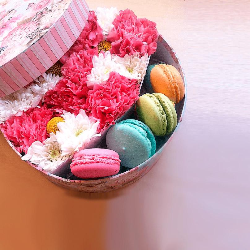 Фото Круглая коробочка с цветами и пироженками