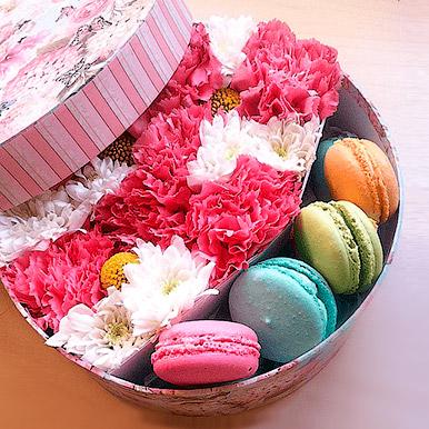 Круглая коробочка с цветами и пироженками