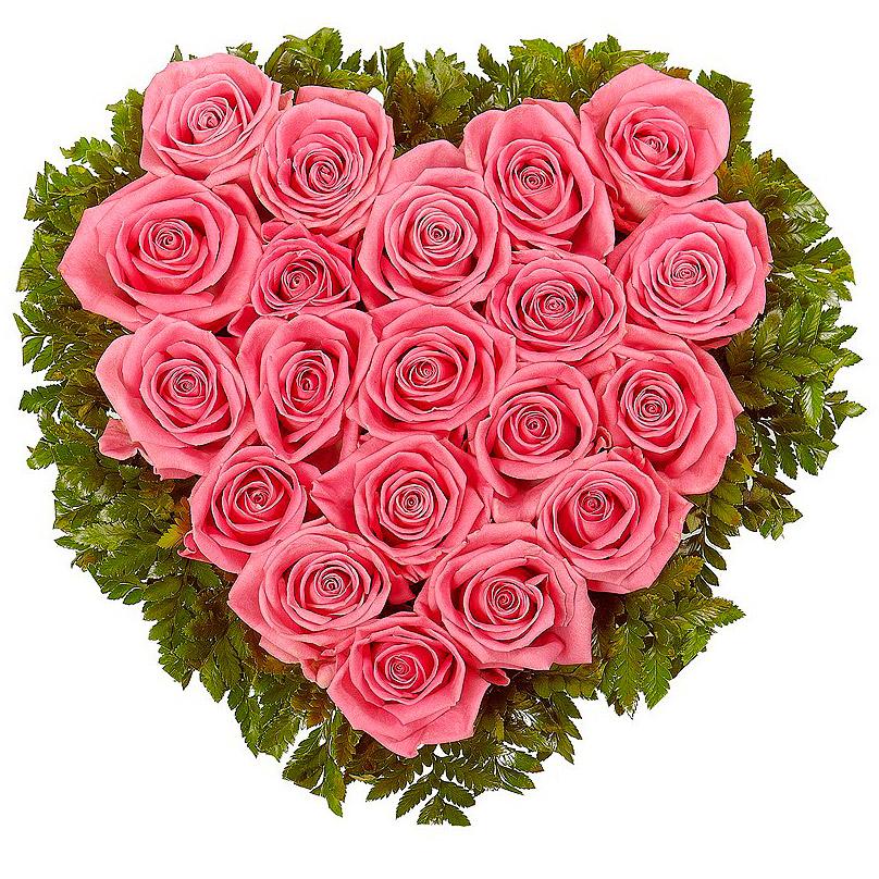 Фото Сердце из 19 розовых роз