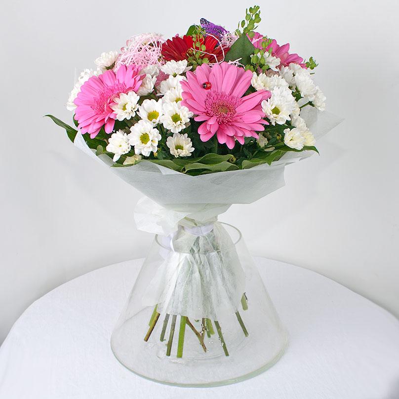Фото Розовые герберы с хризантемами