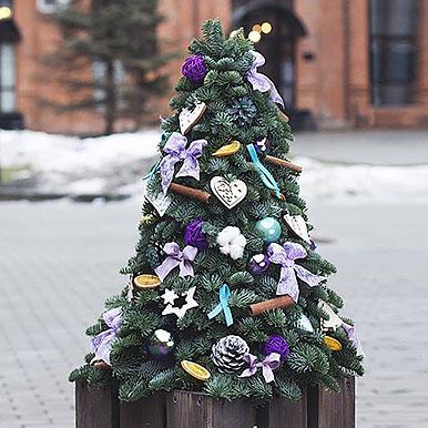 Большая елка из живой хвои с новогодним декором
