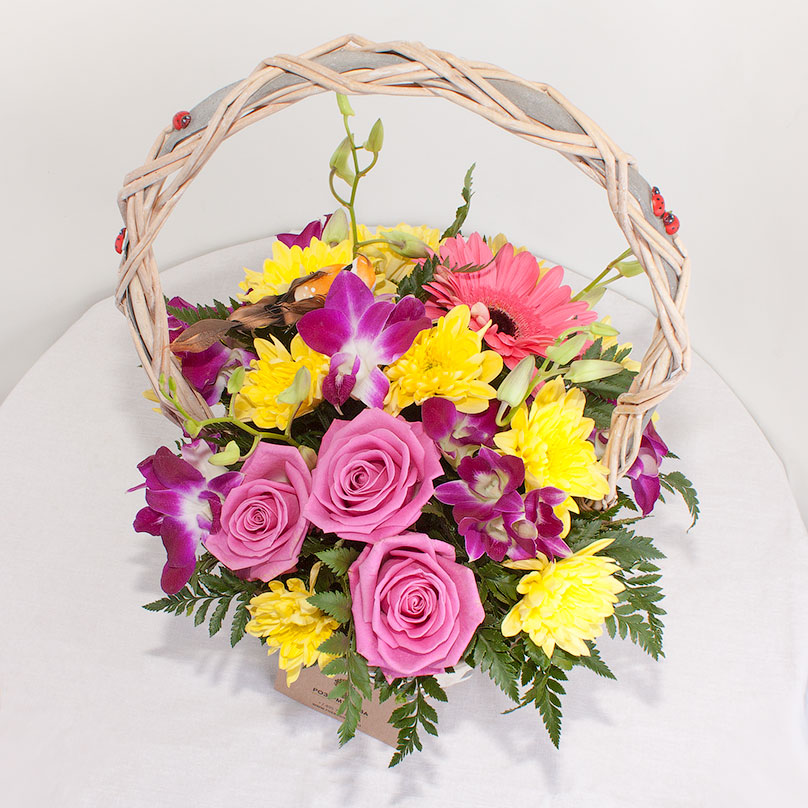 Фото Корзинка с хризантемами и розами