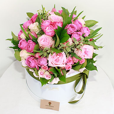 Премиум коробка с пионовидными розами