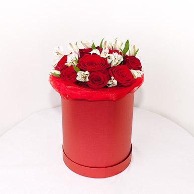 Мини-коробка с красными розами и белой альстрамерией