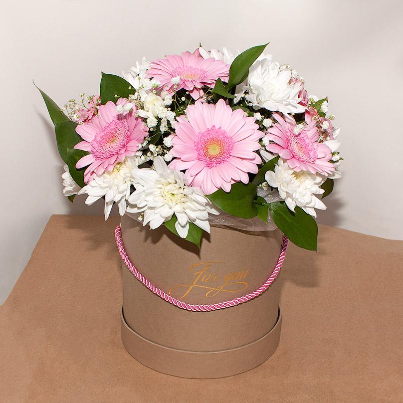 Фото Мини-коробка с герберами и хризантемами