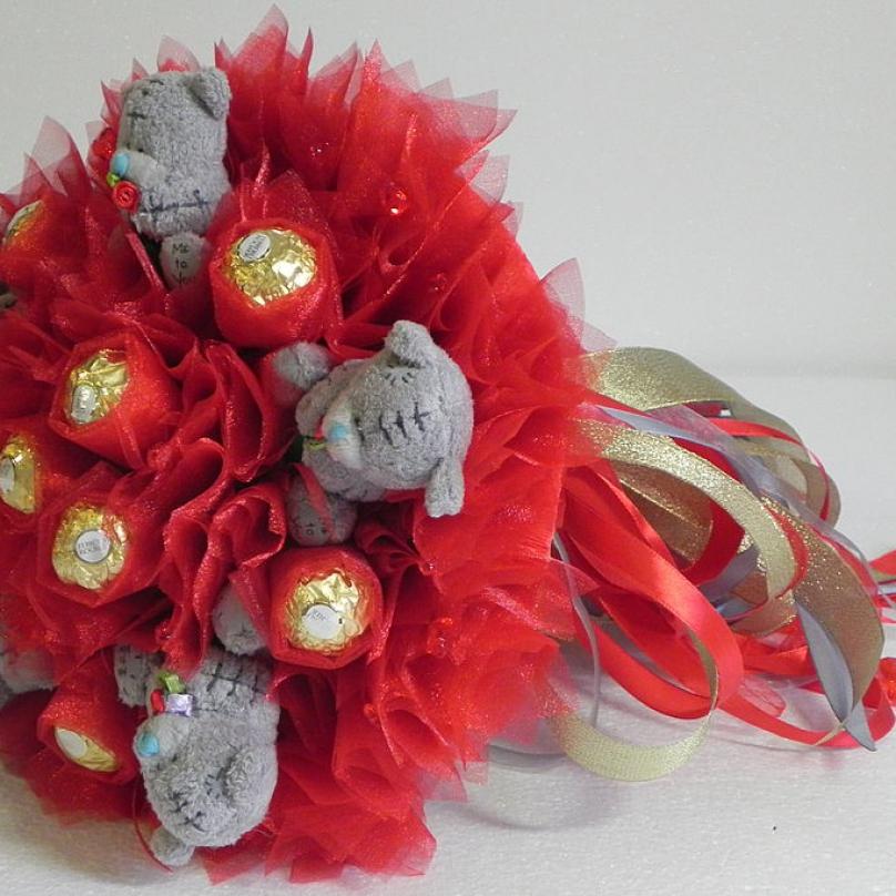Букет из мишек с конфетами своими руками 72